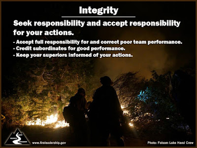 Integrity: Seek Responsibility and Accept Responsibility for Your Actions Accept full responsibility for and correct poor team performance. Credit subordinates for good performance. Keep your superiors informed of your actions. [Photo credit: Folsom Lake Hand Crew]