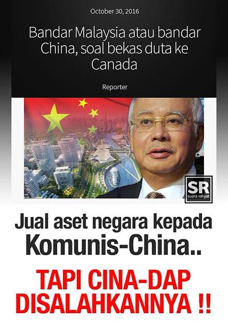 Image result for Gambar najib jual tanah kepada China komunis