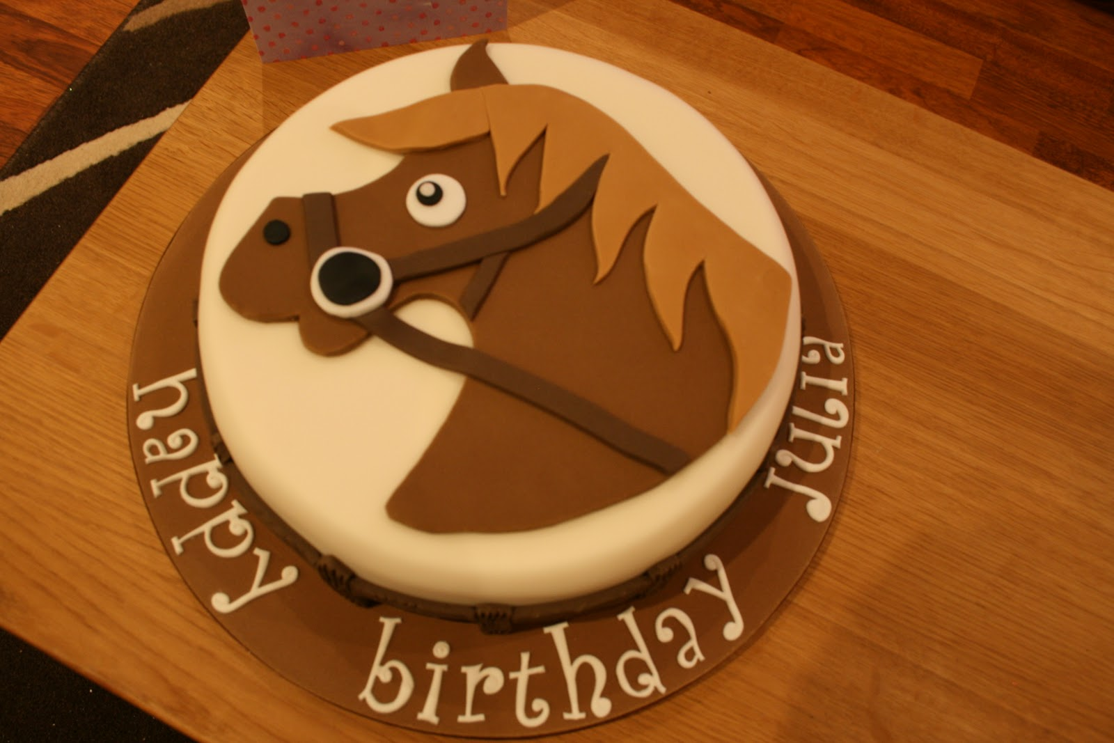 Its A Sponge Cake With Buttercream And Jam Which Was Then Covered In Regal Ice Celebration The Horse Board Are