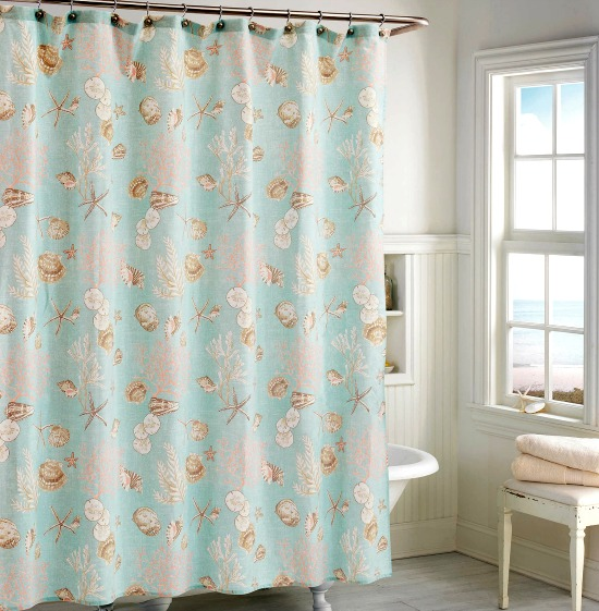 Aqua Pastel Sea Shell Cotton Shower Curtain