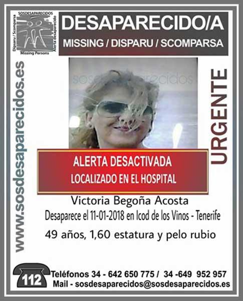 Localizan mujer de Icod de los Vino en un hospital Victoria Begoña Acosta