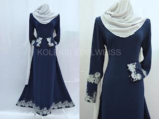 Jubah Muslimah Moden Online  Warna Biru Gelap