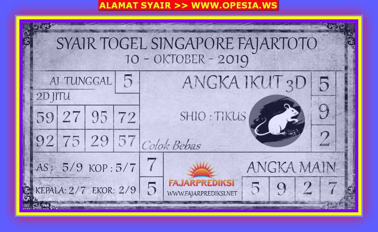 Kode syair Singapore Kamis 10 Oktober 2019 19