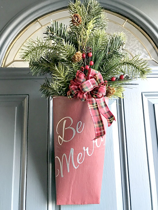 How to Create a Repurposed Christmas Door Bouquet