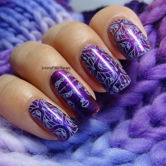 Purple Christmas Ornament Manicure