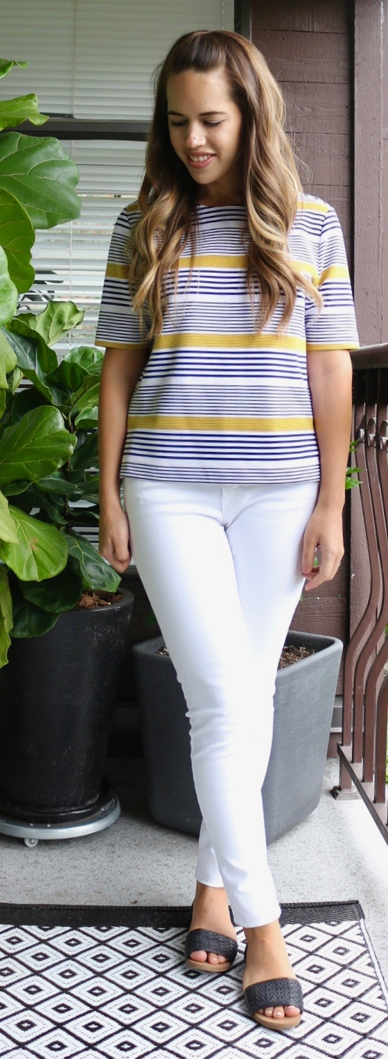 Jules in Flats - Boxy Striped Top and White Jeans for Summer
