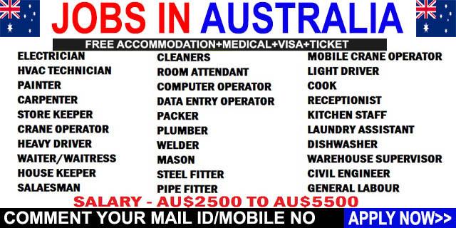 JOBS IN AUSTRALIA ~ JOB VACANCY