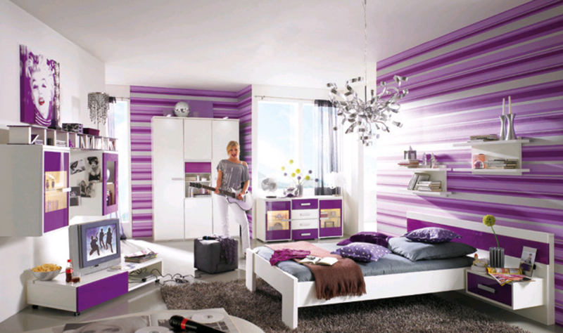 dormitorios para chicas en color morado ideas para decorar dormitorios. Black Bedroom Furniture Sets. Home Design Ideas