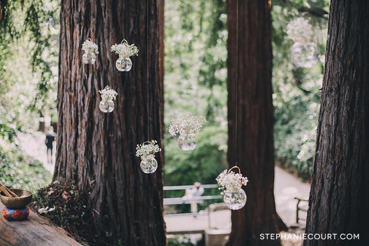 floating baby's breath wedding ceremony decor