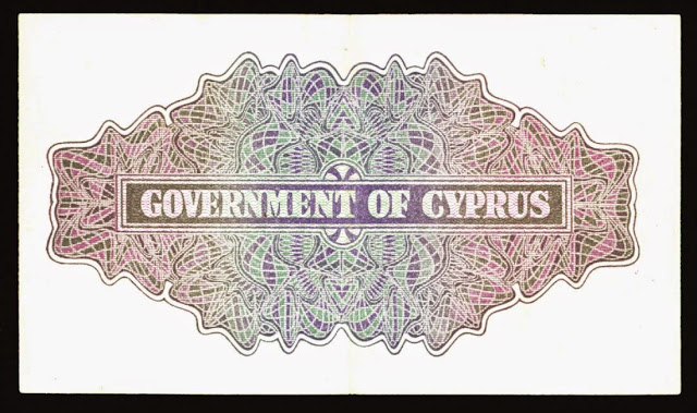 Cyprus money currency Two Shillings note 1942