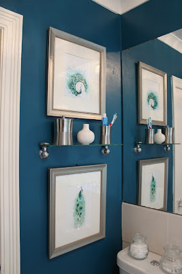 Refreshing my bathroom with peacock blue paint