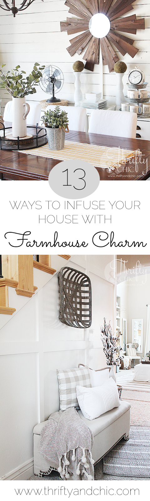 Ways to add farmhouse charm and style to your house. Great tips to get the Fixer Upper style and decor ideas