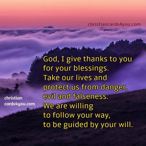 thank you short prayer, God, we want to follow you. free christian image.