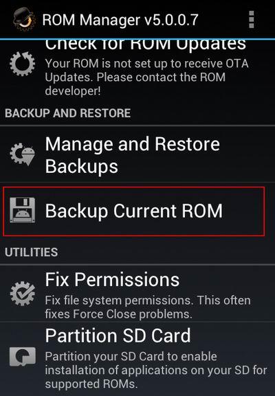 Backup ROM Manager
