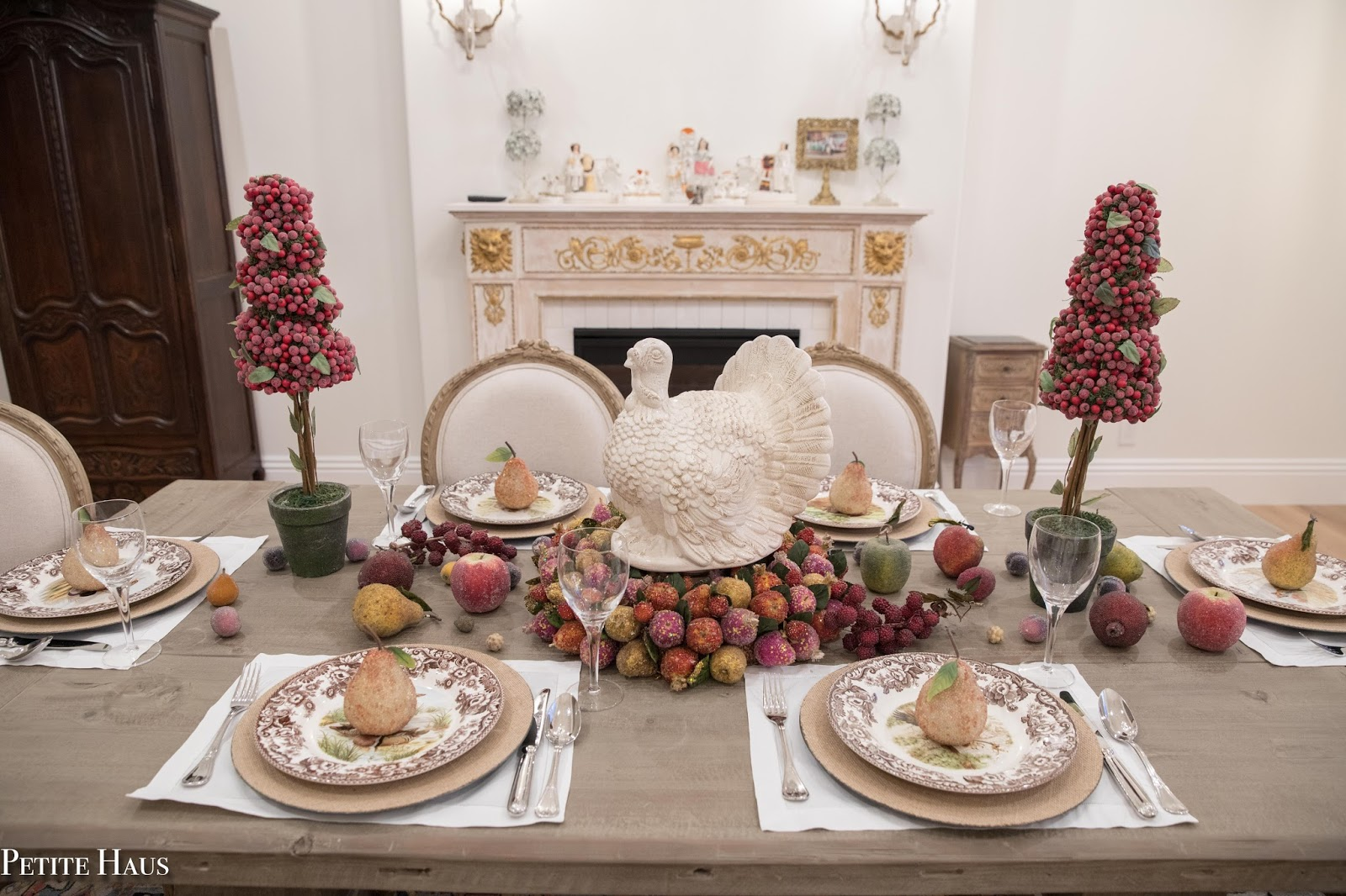 Thanksgiving table with fruit and woodland spode