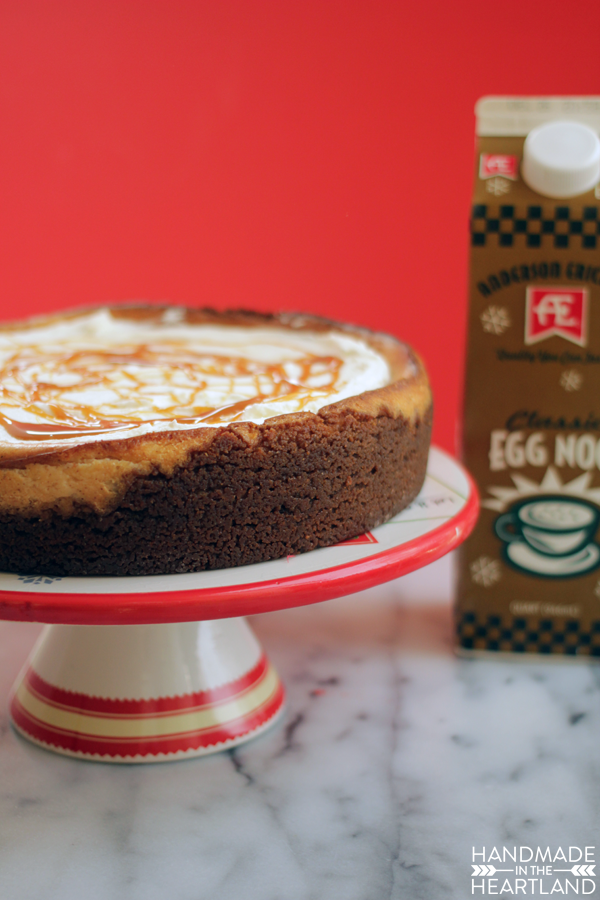 Ramp up your holiday entertaining with egg nog cheese cake.
