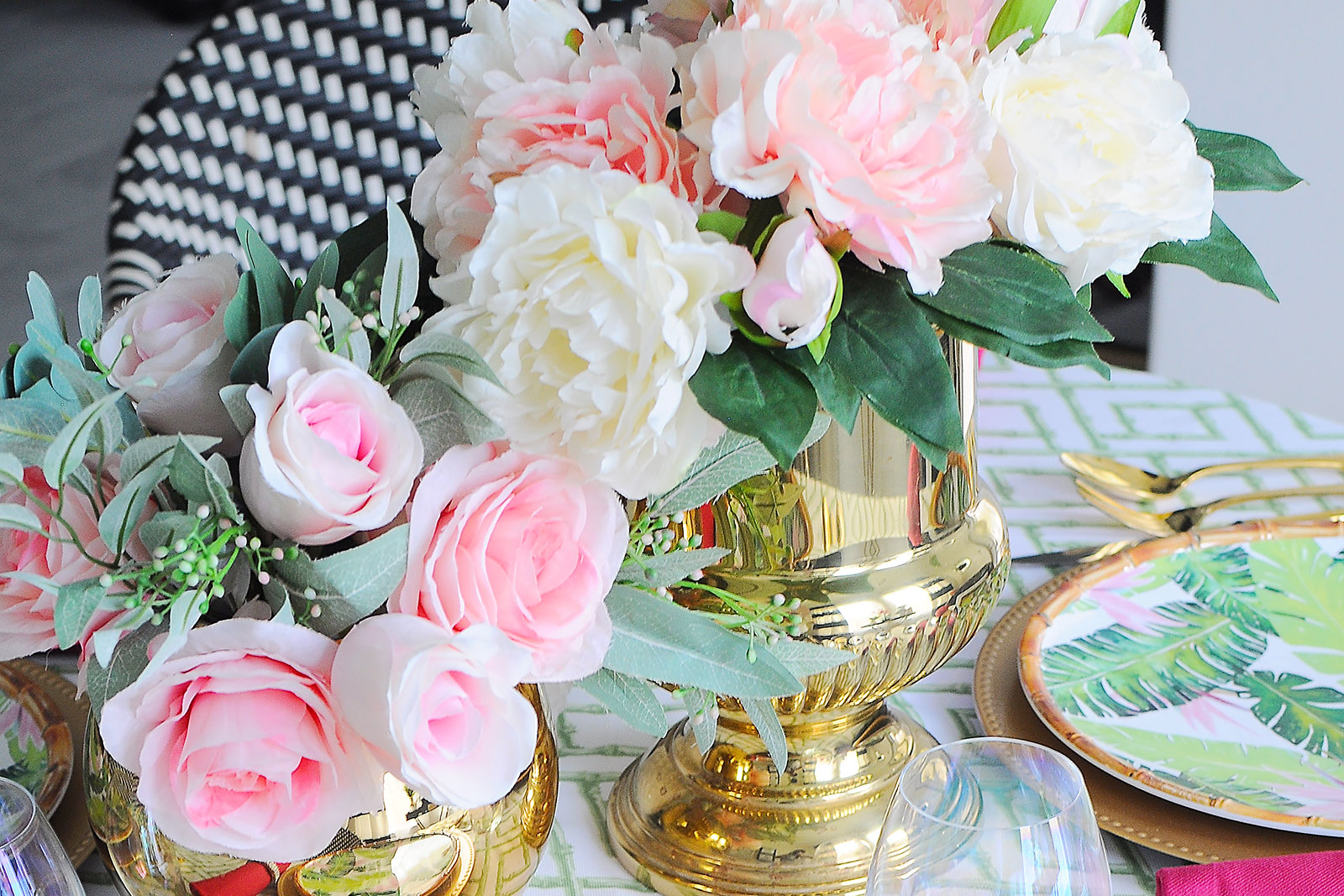 A chic and preppy green, pink and gold chinoiserie inspired tablescape. I love the bamboo touches and tobacco leaf teapot!