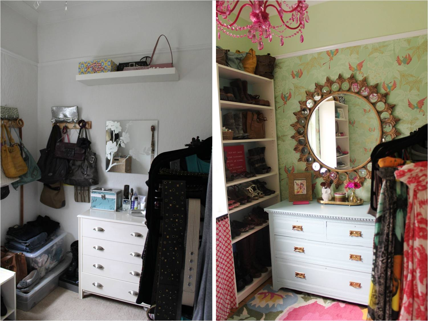 A before and after of my dressing room reveal