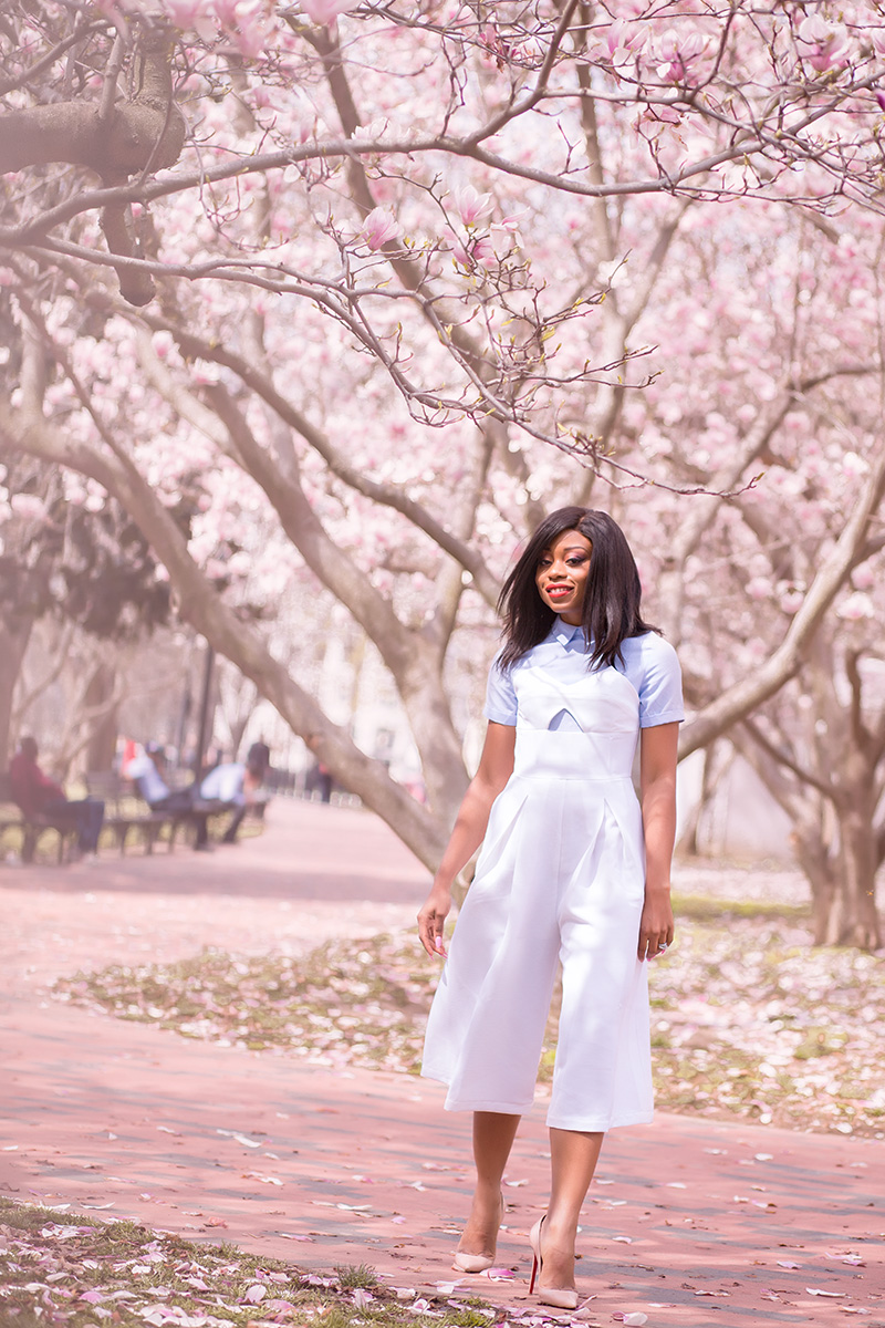 endless rose jumpsuit, spring cherry blossom, white jumpsuit, www.jadore-fashion.com