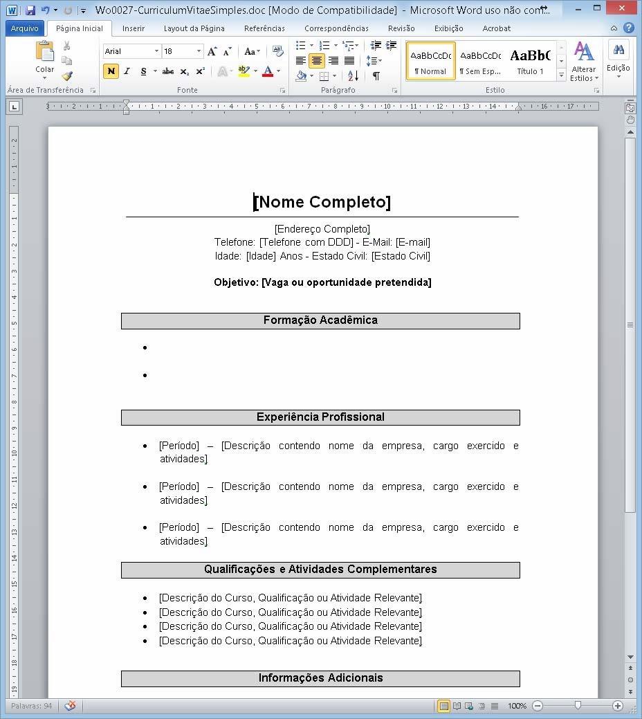 Modelo De Curriculum Vitae Html