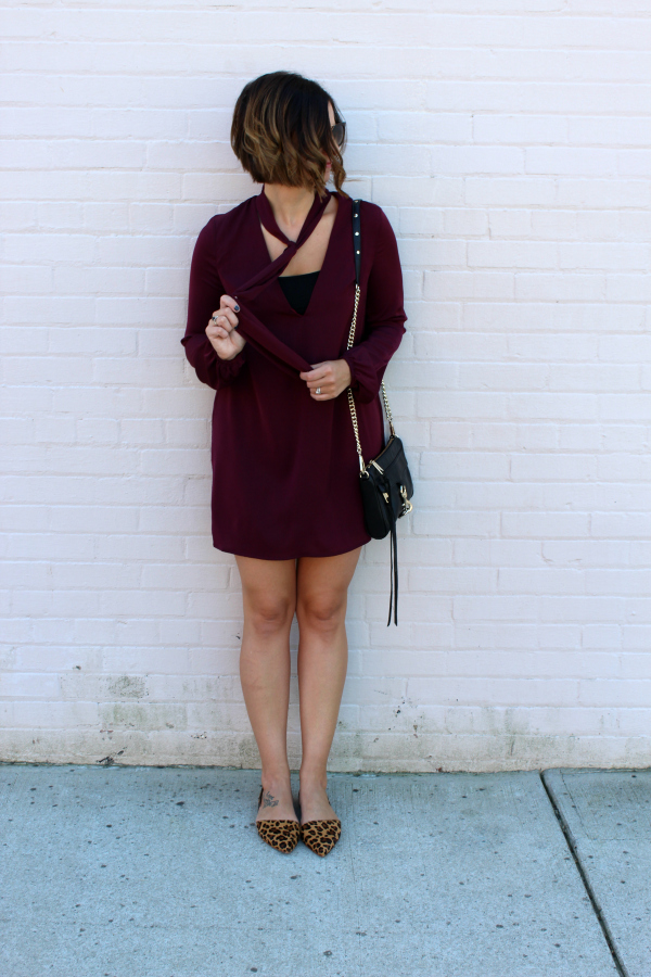 wine shift dress, leopard flats