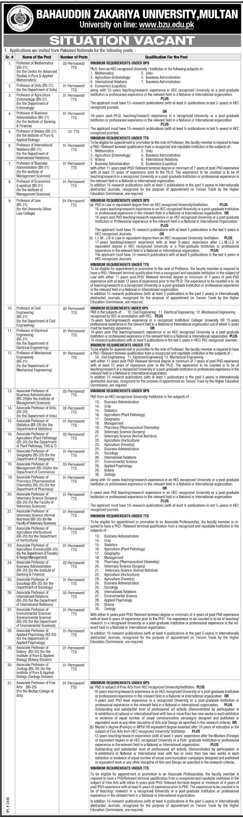 Bahauddin Zakariya University Multan Jobs1