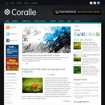 Coralle blog template. patter background blogger template. magazine style template blogspot. free blogspot template. download free 3 column blogger template