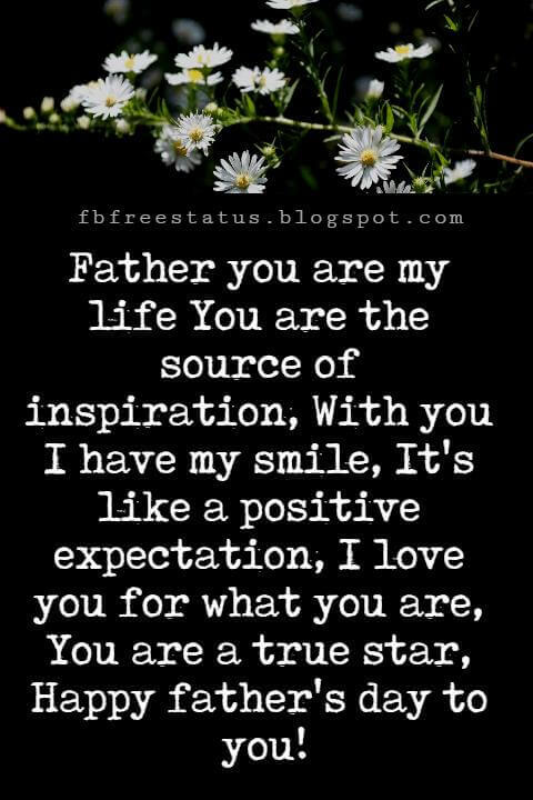 Happy Fathers Day Messages, Father you are my life You are the source of inspiration, With you I have my smile, It's like a positive expectation, I love you for what you are, You are a true star, Happy father's day to you!