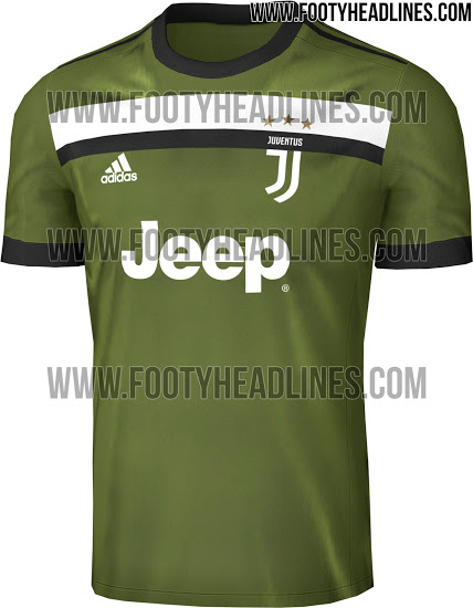 15fad8227 The Juventus 17-18 third kit is military green with black logos and a black  and white horizontal chest stripe