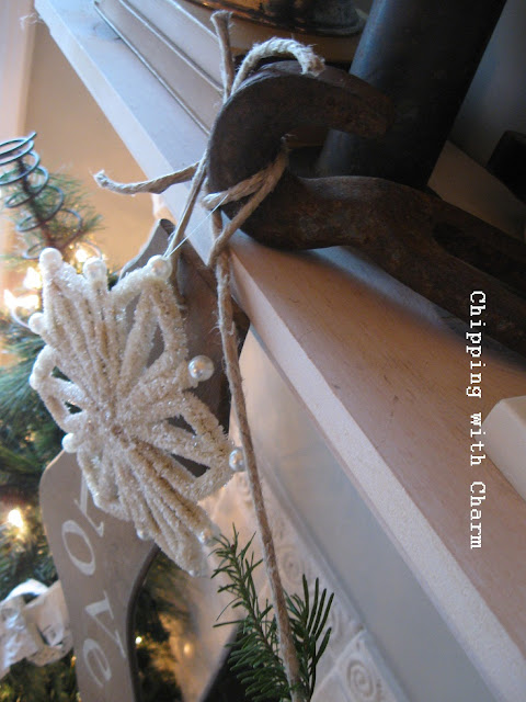 Chipping wityh Charm...Fussy Christmas Mantel 2012...http://chippingwithcharm.blogspot.com/