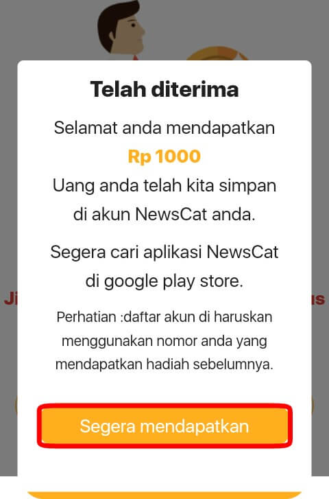 Cara mendapatkan Uang Pulsa dan Poin dari aplikasi News Cat Terbaru