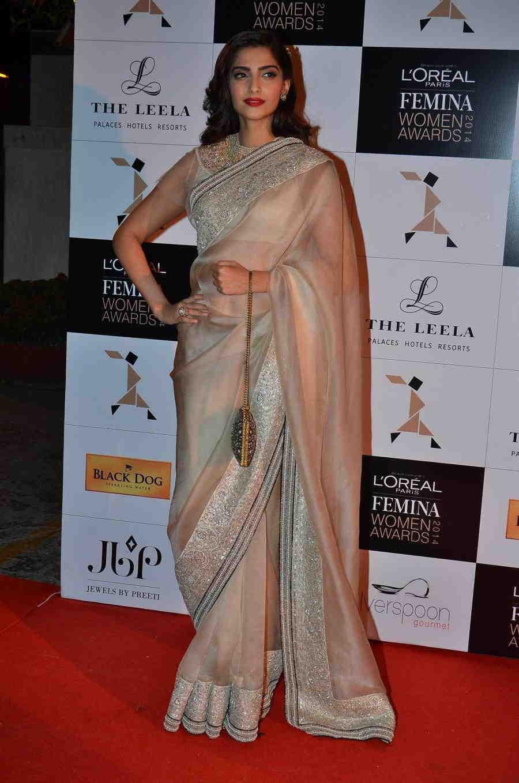 Glamours Hindi Girl Sonam Kapoor Photos In Transparent White Saree