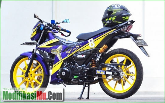 Pelek Racing Boy Dan Ban Battlax - Video Cara Modifikasi Satria F Yu F150 2016 Warna Ungu dan Kuning Yang Mewah Untuk Harian Sederhana Tapi Keren