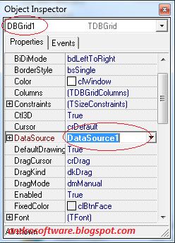 gambar mengubungkan dbgrid dengan datasource delphi 7