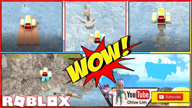 Chloe Tuber Roblox Booga Booga Gameplay Riding A Shark And A