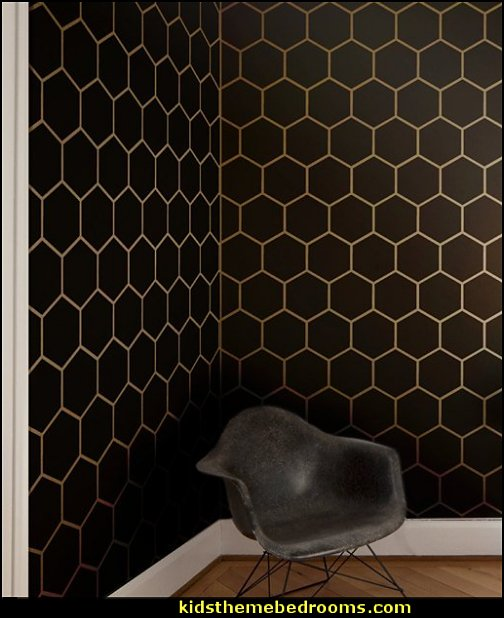 Hexagon Tile Allover Geometric Wall Stencils  honeycomb stencils bee themed bedrooms