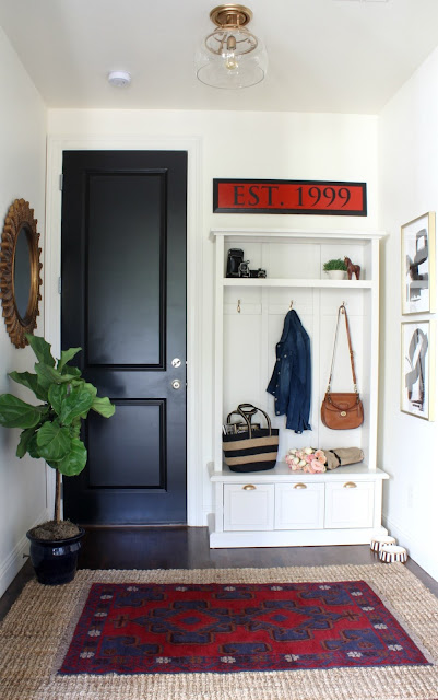 modern mudroom with built ins