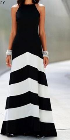 Black White Sleeveless Striped Ankle Length Dress