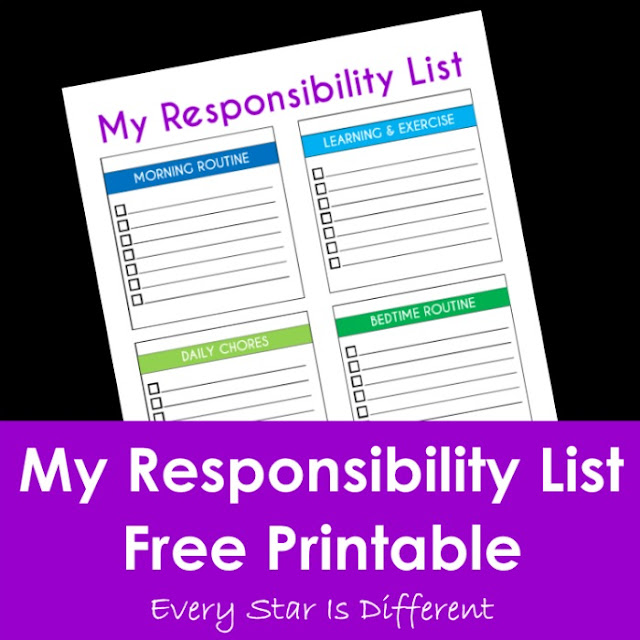 My responsibility list with free printable