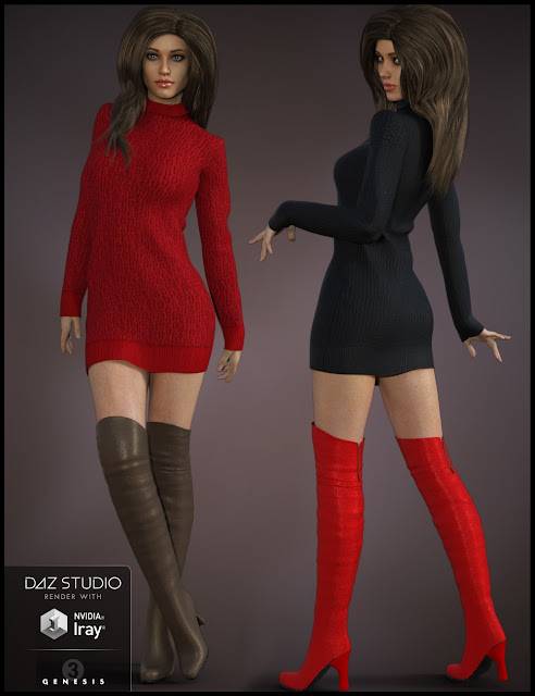 Cozy Sweater Dress Outfit for Genesis 3 Female