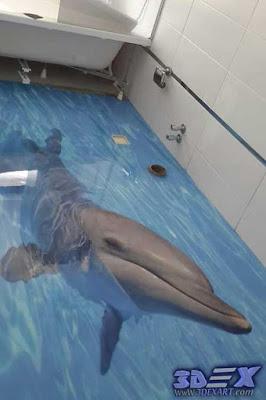 3d dolphin flooring, 3d dolphin tile, 3d epoxy floor mural art