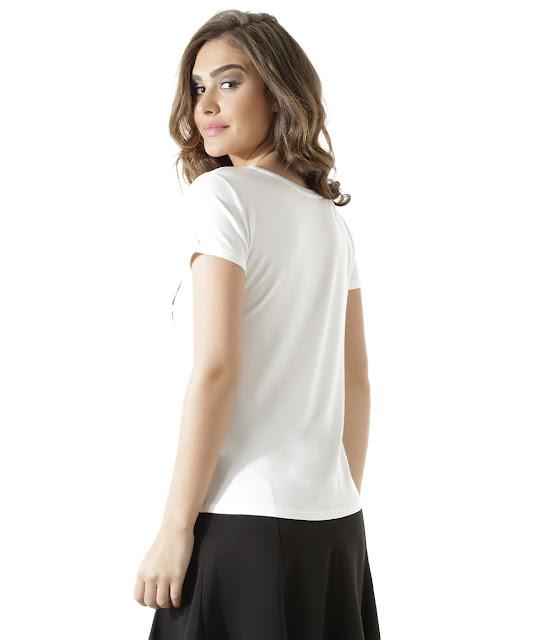 Blusa elle 70 anos de style off white em malha com viscose de toque macio