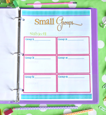 I love this bright and colorful printable teacher planner!  It has so many useful pages, like a grade tracker, weekly/monthly calendars, lesson plans, and small group tracker.  The best part is this template is free!