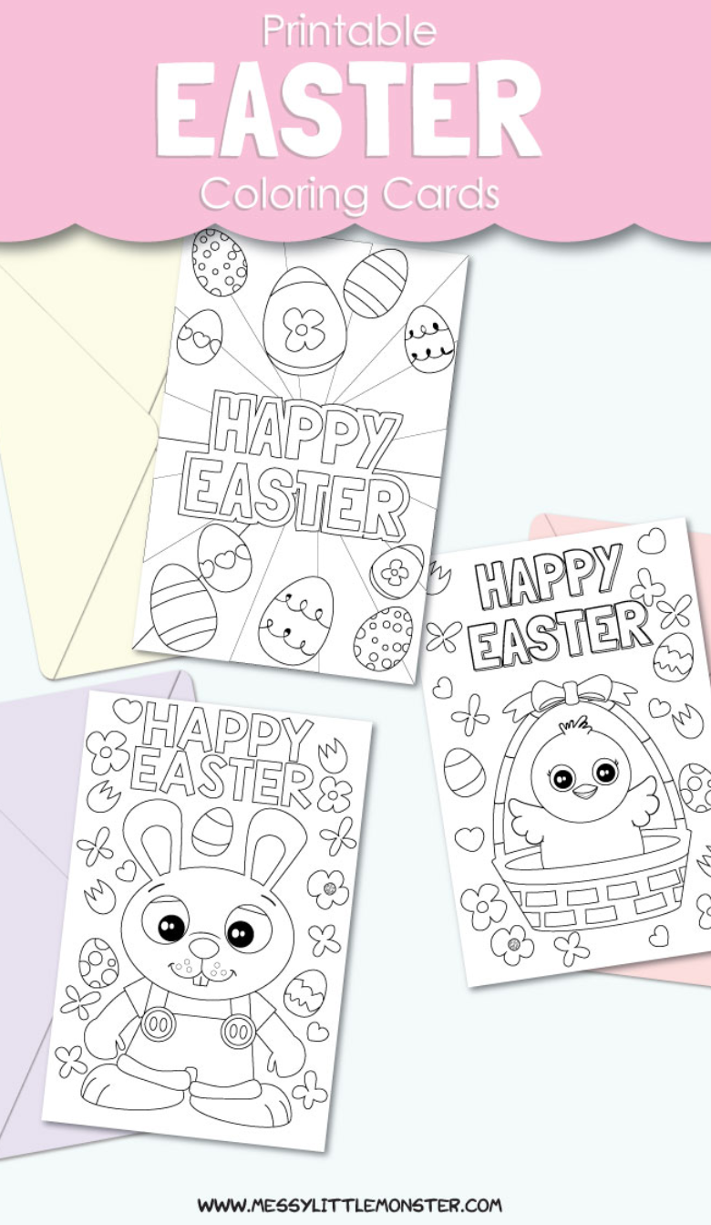 Printable Easter Cards to Color. Easter crafts for kids.