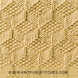 Tumbling Moss Blocks. Beautiful square and both sides look exactly the same. Just KNIT & PURL.