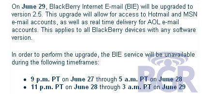 T-Mobile BlackBerry Internet E-mail (BIE) v2.5 Update