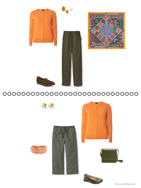 How to style an orange cardigan with olive green