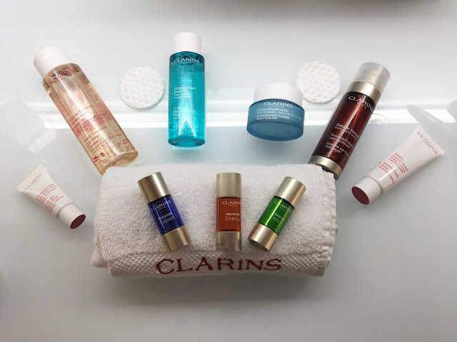 Clarins Skincare products on a white background