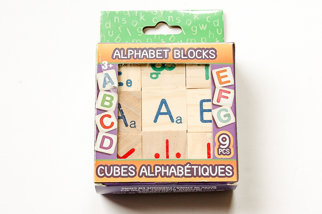 Dollar Tree alphabet blocks