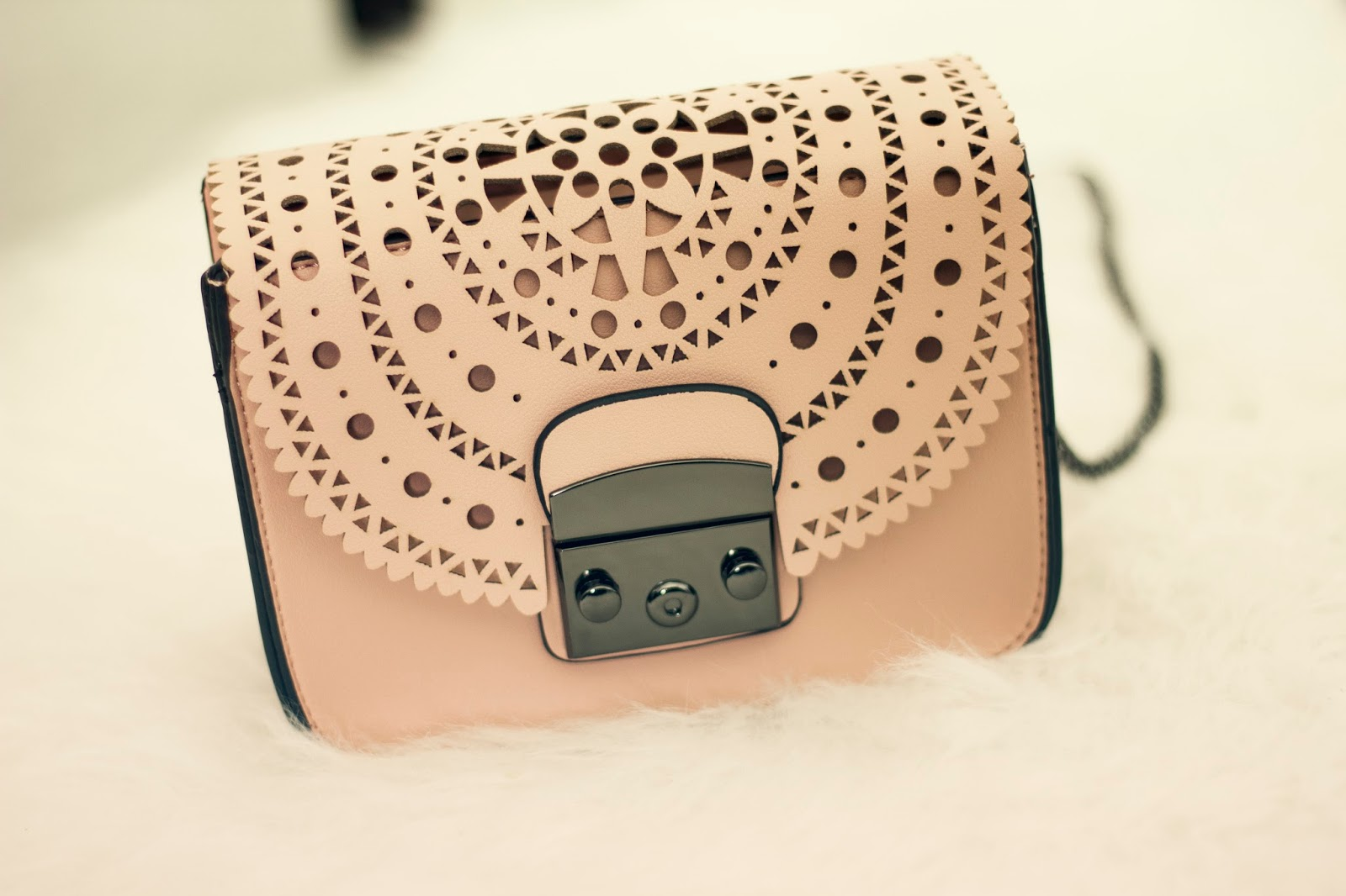 nude pink laser cut small bag